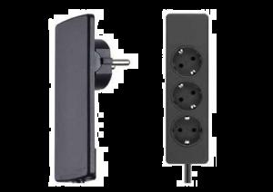 Evoline - Platte Stekker met 3 stopcontacten - 1,5 meter - 250V/16A - NL-D