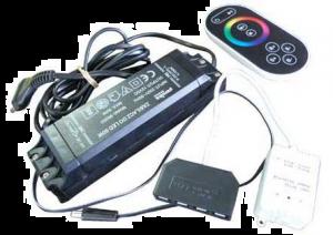 LED RGB TRANSFO 50W+RADIOCONTROLLER+6X VERDELER