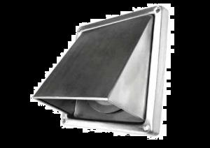 buitenrooster - Kaprooster met klep - Ø100 mm - RVS