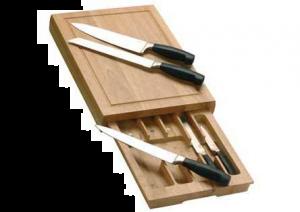 Culinorm - messen set in lade snijplank - 5 delig messenset - RVS