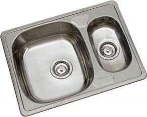 Culinorm Spoelbak opbouw - Anderhalve wasbak keuken - Dubbele Gootsteen - RVS - 63 cm breed x 40 cm diep