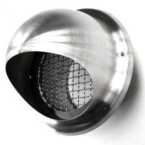 Culinorm Bolrooster RVS Ø125mm met grofmazig gaas en hoge doorlaat - RVS