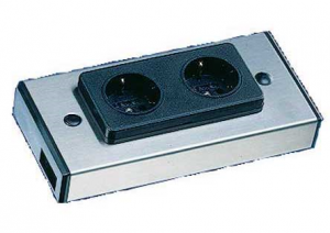 DUBBEL STOPCONTACT - RVS IN/OUT CONNECTOR (Nederland/Duitsland)