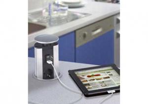 Evoline - Powerport - 2 stopcontacten/2 USB- Alu-look/Grijs - B-F