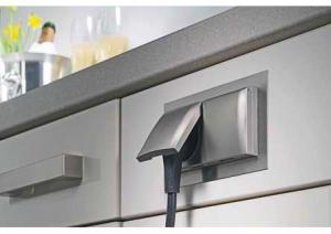 Hettich - Klappo - Inbouw 2 stopcontacten - RVS - NL-D