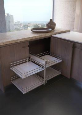 Rational Corner - Inbouwsysteem - Soft Close - 450mm - Houten Bodem - Links